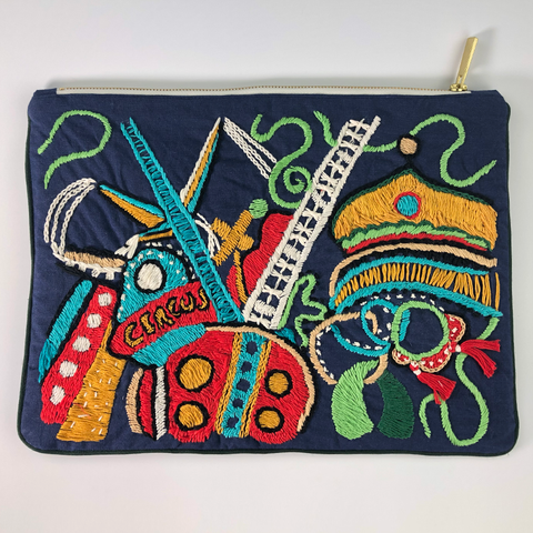 Circus Hand Embroidered Large Travel Pouch