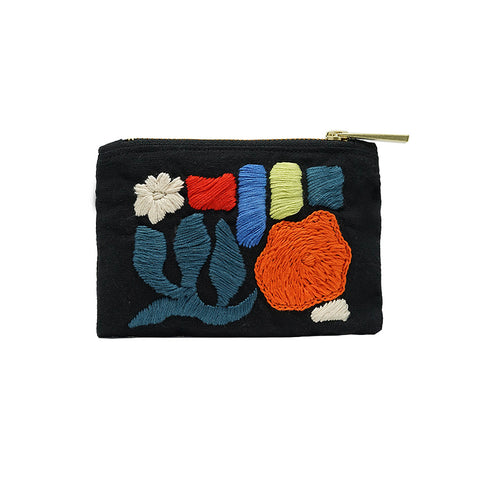 Leaf and Flower Hand Embroidered Mini Coin Purse