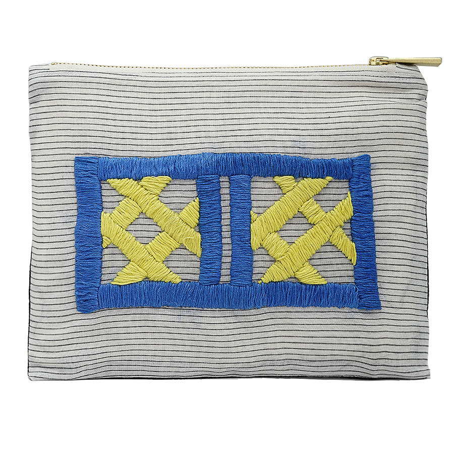 Cage Grid Hand Embroidered Pouch Bag