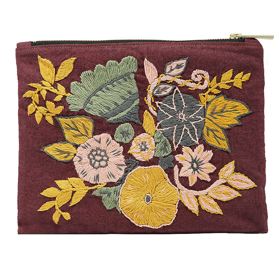 Water Lily Hand Embroidered Pouch Bag