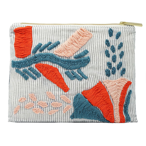 Red Cacti Hand Embroidered Pouch Bag