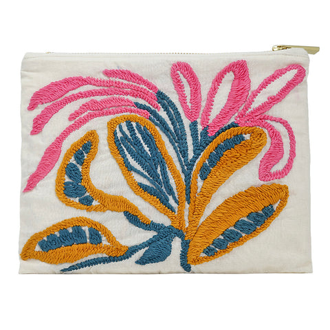 Close Bud Lilies Hand Embroidered Pouch Bag
