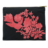 Bird Peonies Hand Embroidered Bag Pouch
