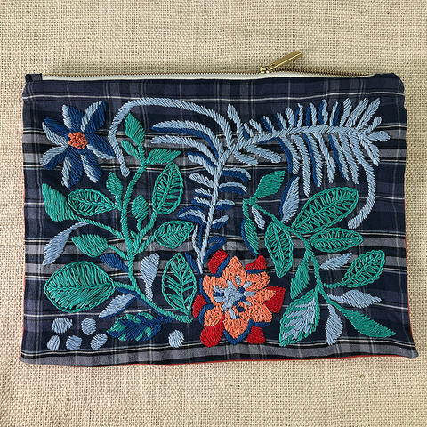Sedge Leaves Hand Embroidered Large Travel Pouch