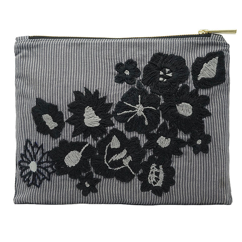 Black Peonies Hand Embroidered Bag Pouch