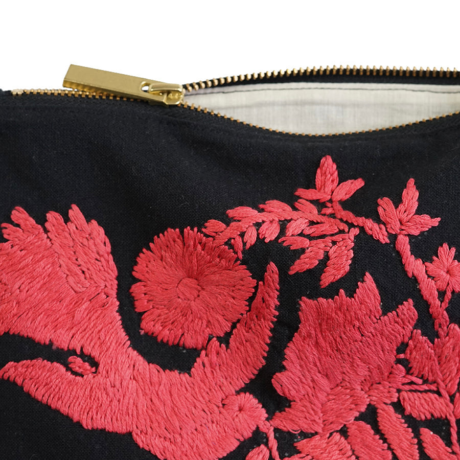 Bird Peonies Hand Embroidered Pouch Bag