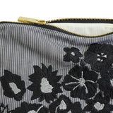 Black Peonies Hand Embroidered Pouch Bag