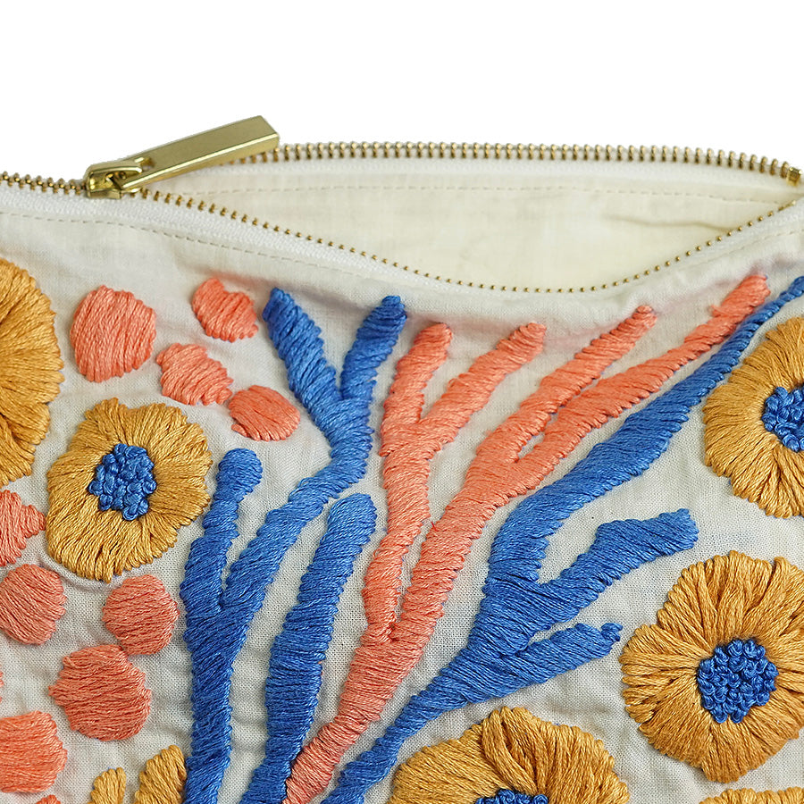 Morning Glory Hand Embroidered Pouch Bag