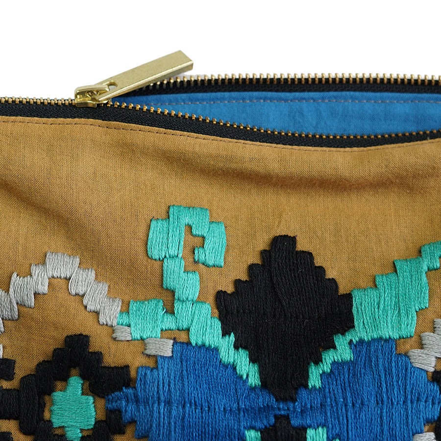 Modern Phulkari Hand Embroidered Pouch Bag