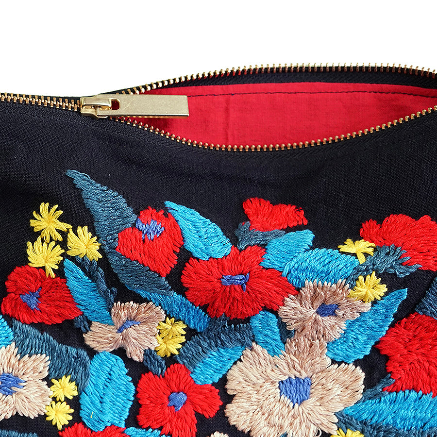 Gerbera Daisies Hand Embroidered Pouch Bag