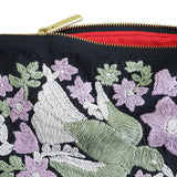 Bird Daisies Hand Embroidered Pouch Bag