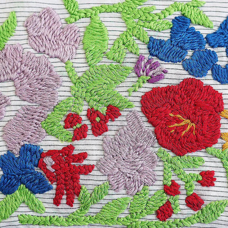 Hibiscus Hand Embroidered Pouch Bag