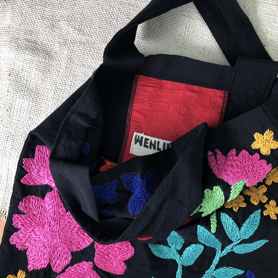 River Rose Hand Embroidered Monika Tote