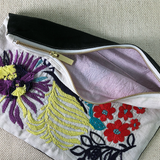 Daisy Wave Hand Embroidered Large Travel Pouch