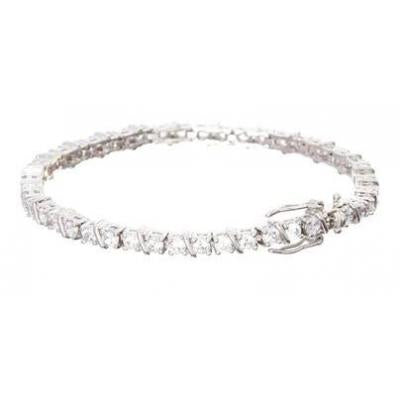 Sterling Silver White Gold Plated Tennis Bracelet