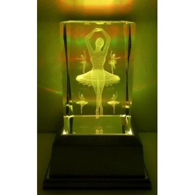 3D Inscribed Ballerina Crystal Light