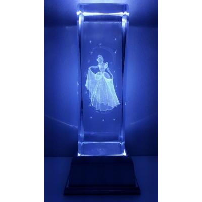 3D Inscribed Large Cinderella Crystal Light