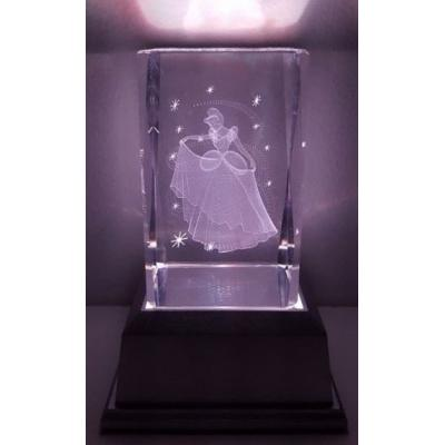 3D Inscribed Small Cinderella Crystal Light