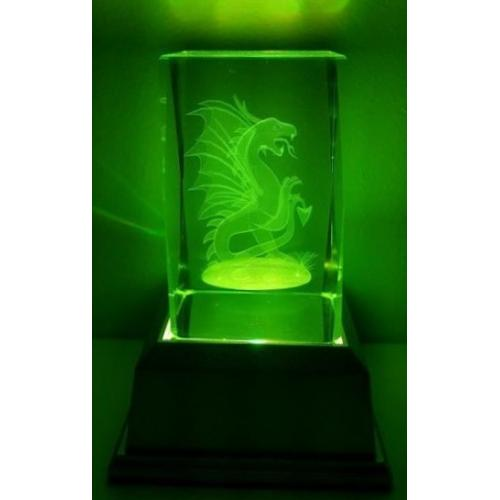 3D Inscribed Chinese Dragon Crystal Light