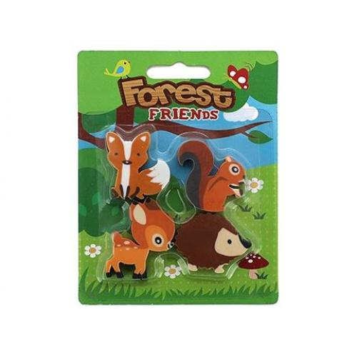 Forest Friends 4 Piece Eraser Set