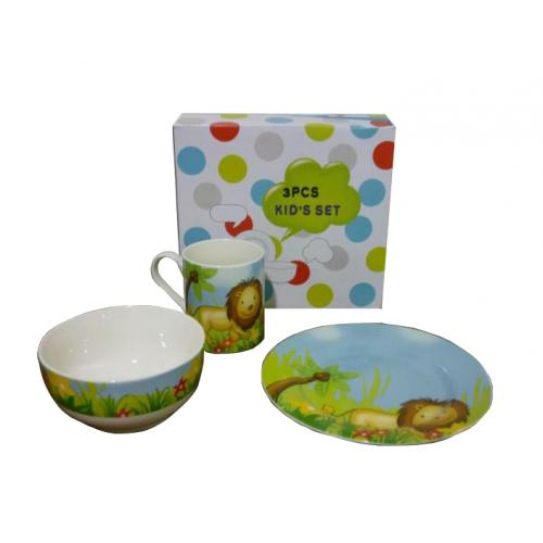 Jungle 3 Piece Kids Dinner Set