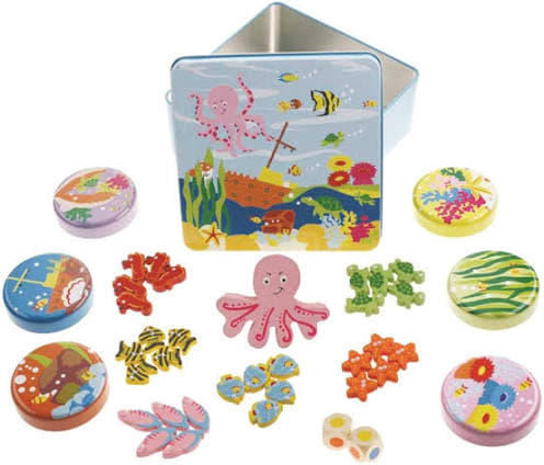 Wooden Octopus & Fish Game In Metal Tin