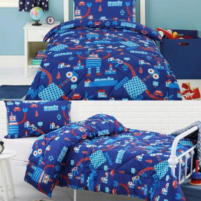 Dreamaker Kids Blue Robots Single Bed Quilt Cover Set