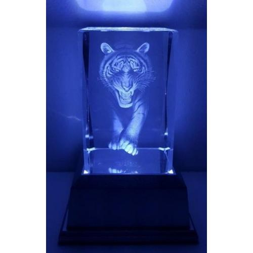 3D Inscribed Tiger Crystal Light