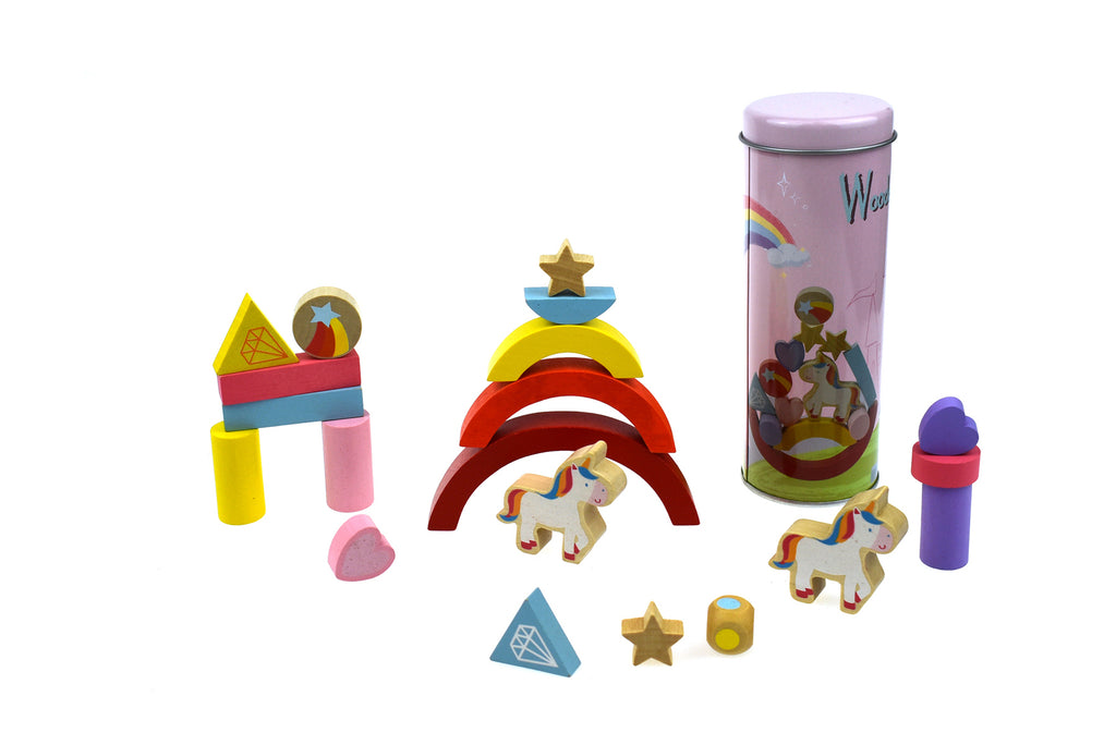 Kaper Kidz Wooden Unicorn Balancing Blocks In Metal Cylinder
