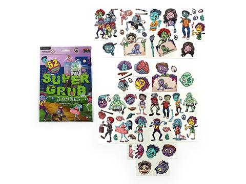 Super Grub Zombies Temporary Tattoos