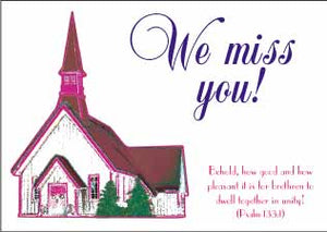 """We Miss You"" Christian Postcards"