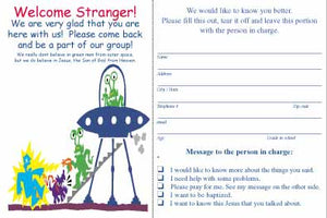 """Welcome Stranger!"" Youth Welcome Cards"
