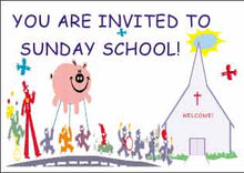 "Load image into Gallery viewer, ""You are Invited!"" Christian Postcards for Sunday school"