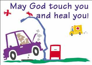 """May God Touch and Heal You"" Christian postcards"