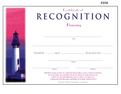 Church Recognition Certificates