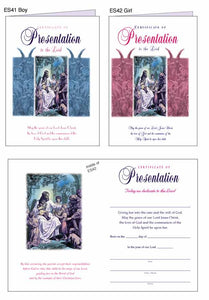 """PRESENTATION to the Lord: Baby Girl"" Certificates"