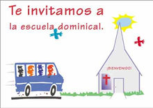 "Load image into Gallery viewer, Te Invitamos a Escuela Dominical"" Postales para la Iglesia"