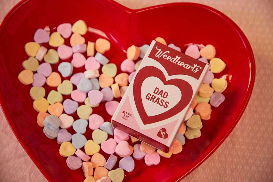Pack of weedhearts in red bowl