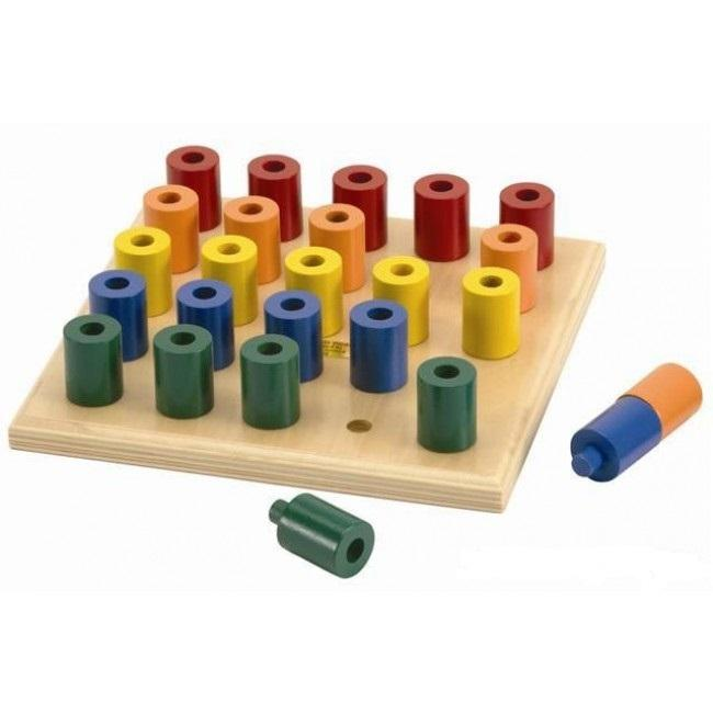 Wooden stacking peg board different colour stacking pegs fine motor