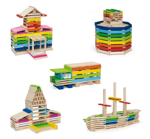 Creative Wooden Blocks - 250pcs - 150 natural pcs and 100 Coloured pcs