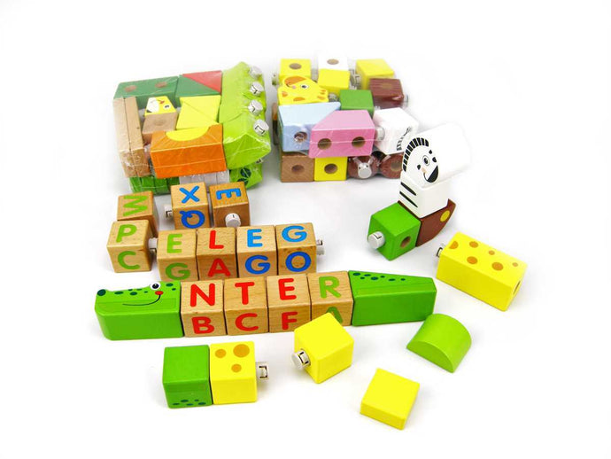 Forest animal blocks 80pcs alphabet and animal building blocks for babies and toddlers