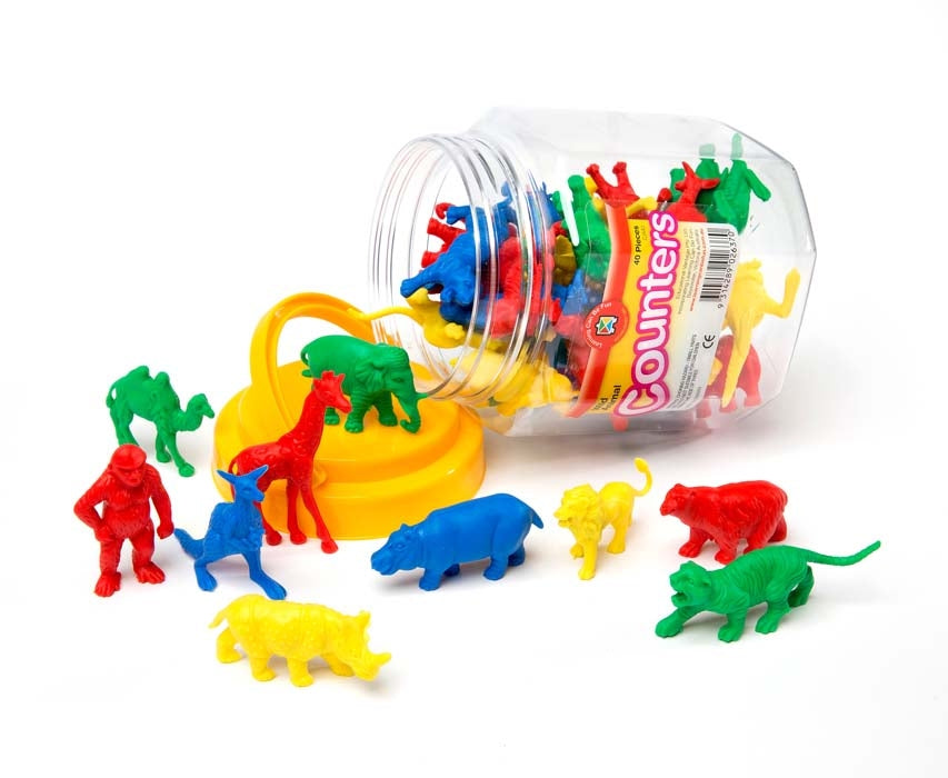 Wild animal themed counters for math counting sorting colour recognition and shape sorting