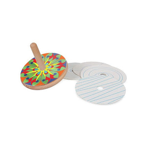 Colour and spin wooden spinning top optical illusion craft