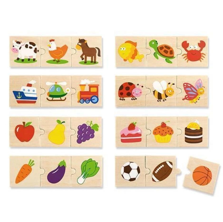 Categorizing wooden puzzle - teach children how to sort things into categories