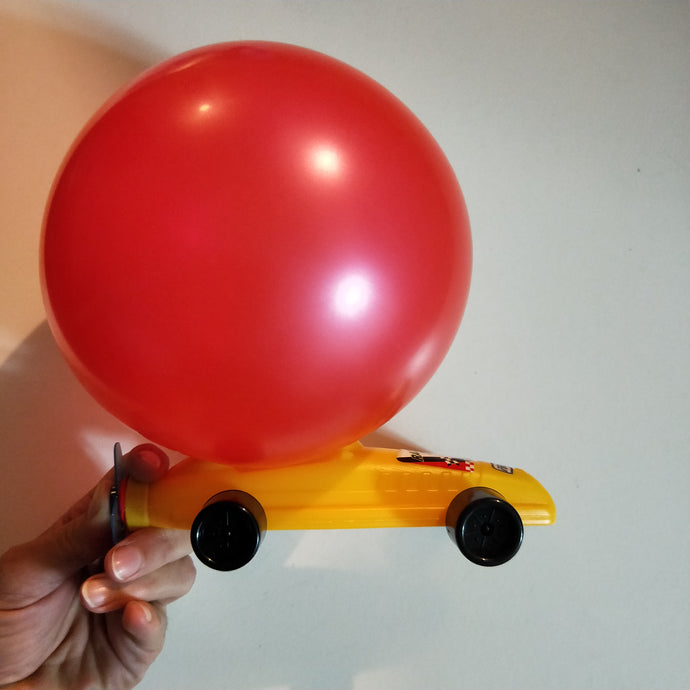 Retro balloon car - blow the balloon and watch the car go