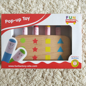 Learn colours, numbers,  shapes and emotions with this cute pop up wooden toy.  Pop up toy for babies