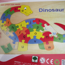 Upper and lower case letter matching puzzle in the shape of a Dinosaur