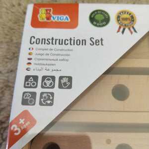 Wooden nuts and bolts construction set