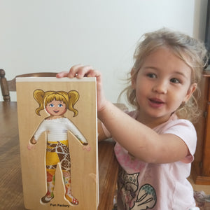 Wooden doll board add fabrics to make different clothes or change her face expression with different magnetic faces