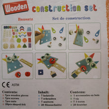 Children's wooden construction set make funny aliens